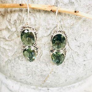 Jewelry -  Sterling SILVER green amethyst EARRINGS dangles